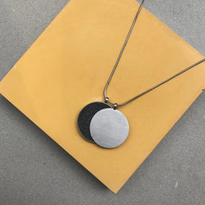 concrete diamond dust + steel necklace