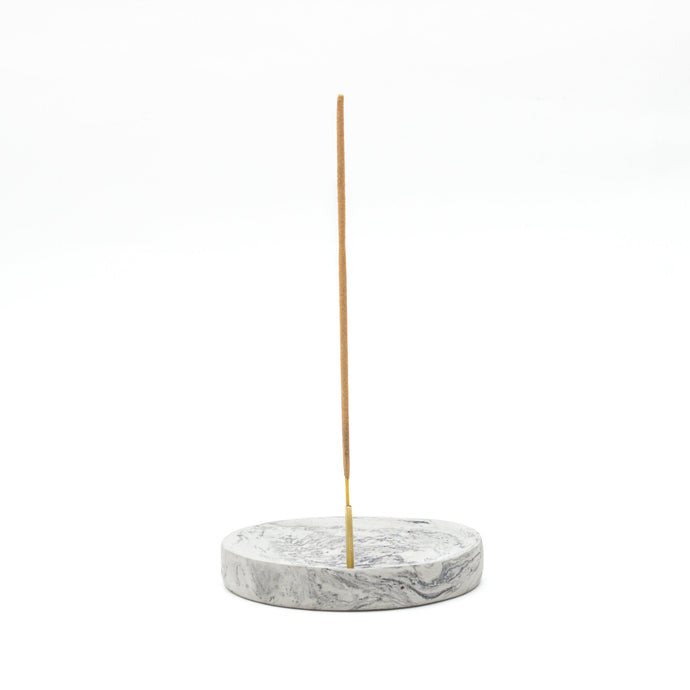 concrete marbled incense plate