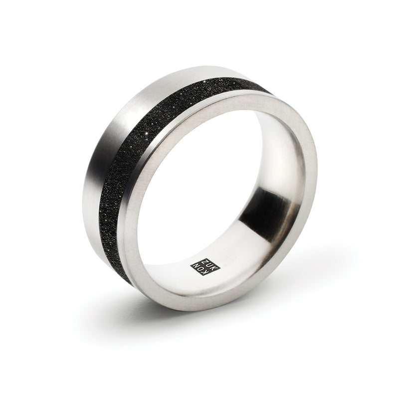 concrete + diamond dust ring, offset