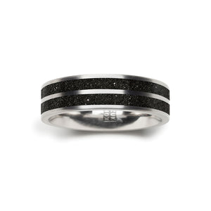 concrete diamond dust striped ring