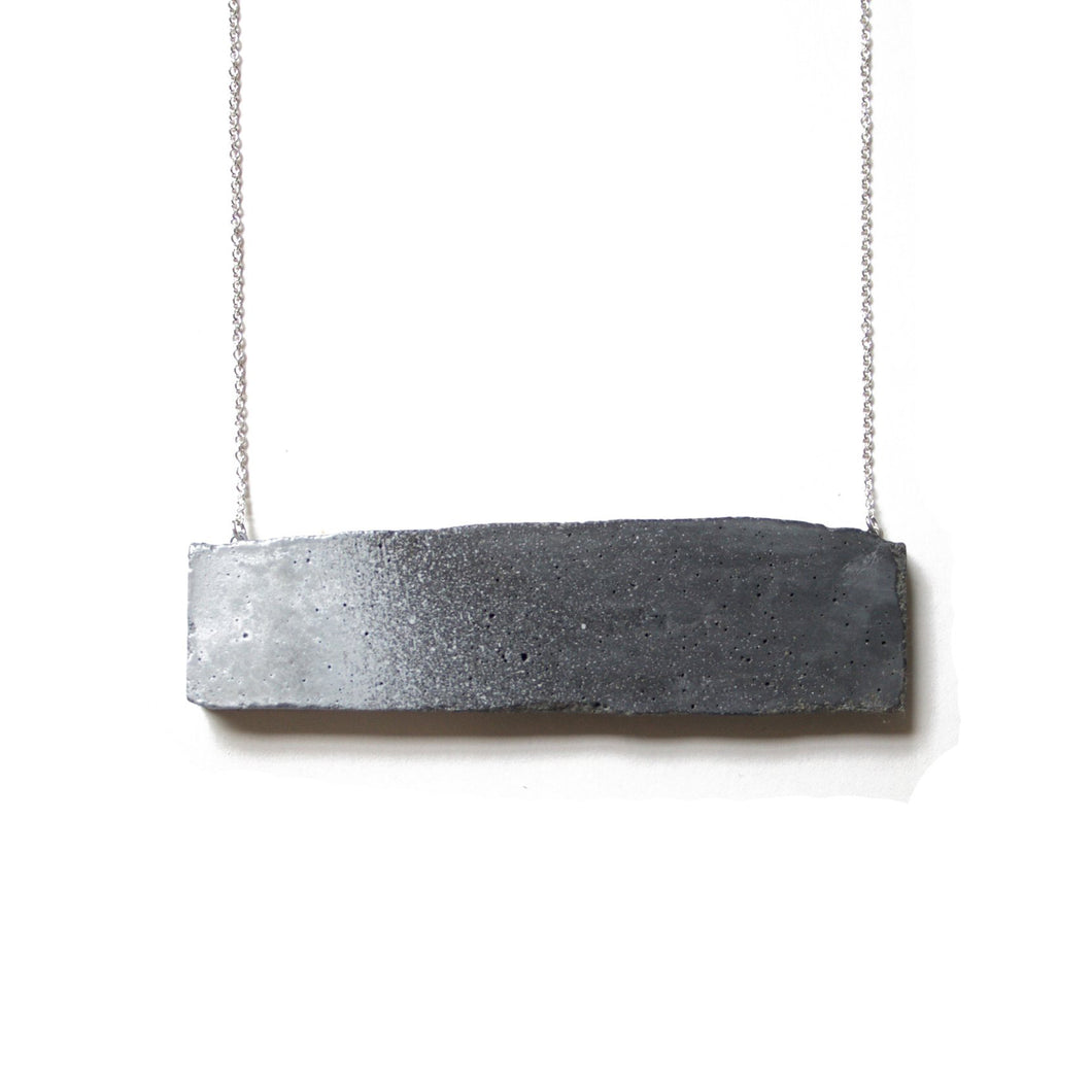 concrete metallic + silver necklace