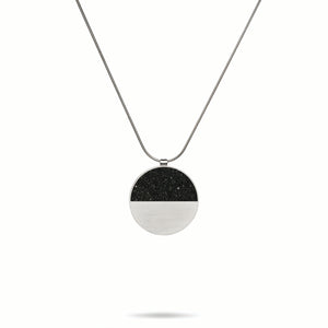 concrete diamond dust half circle necklace