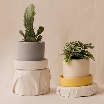 small concrete mix & match plant pots