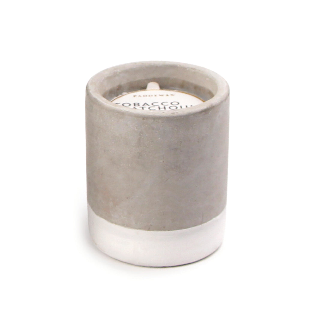 tobacco + patchouli // concrete fragranced candle