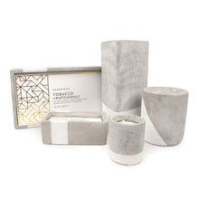 concrete fragranced candle // tobacco + patchouli