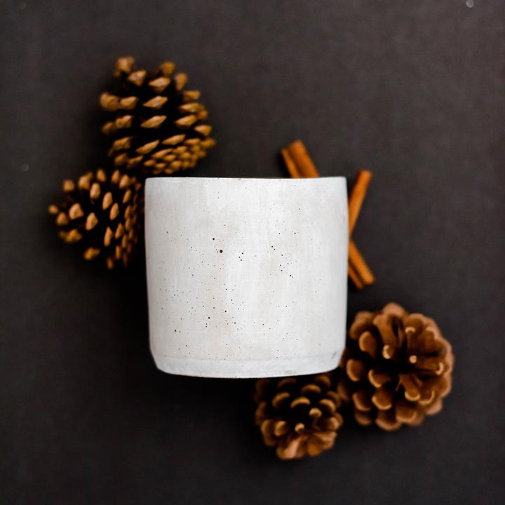 concrete candle with double wick - holiday
