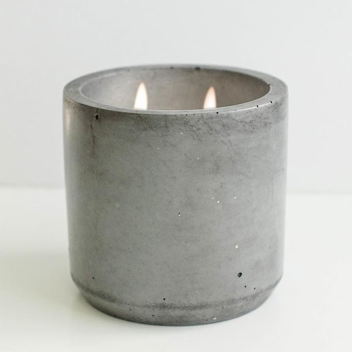 concrete candle with double wick - warm + cozy