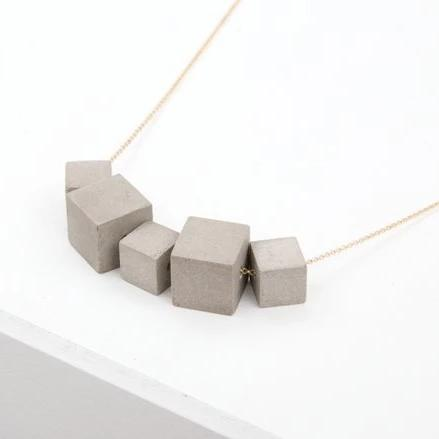 concrete gold necklace small + big cubes