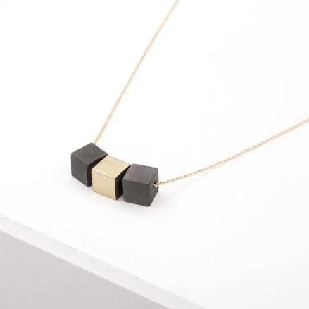 concrete gold necklace brass + cubes
