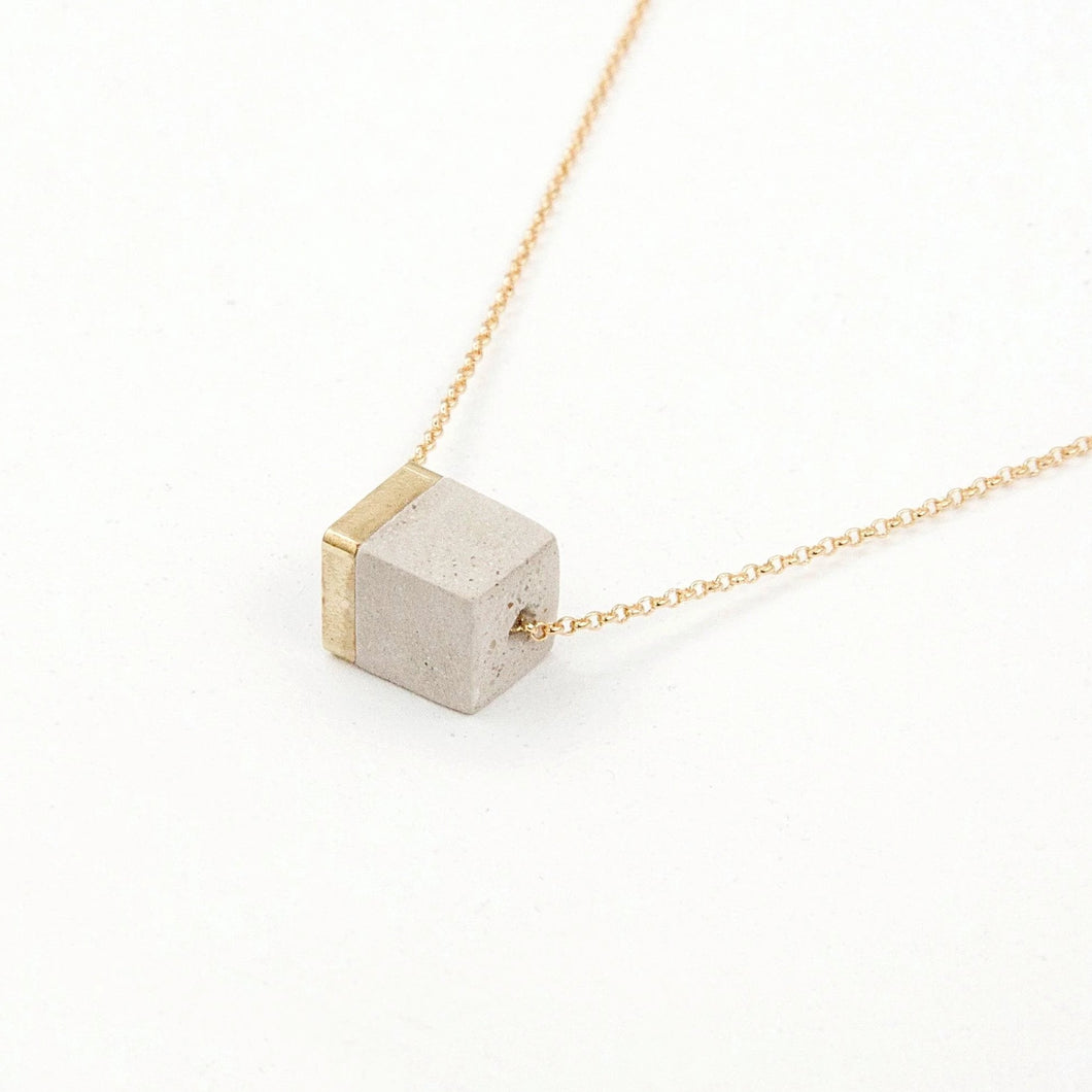 concrete gold necklace small block