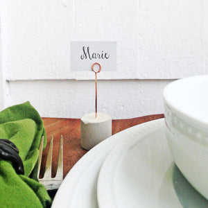 concrete + copper place card holder