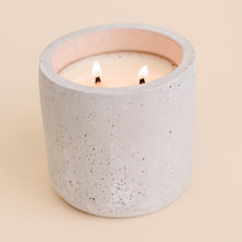 concrete candle with double wick - leaves