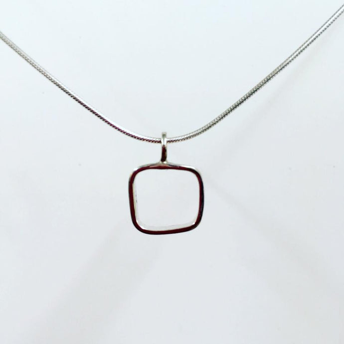 Square - Sterling silver pendant on 16 inch snake chain