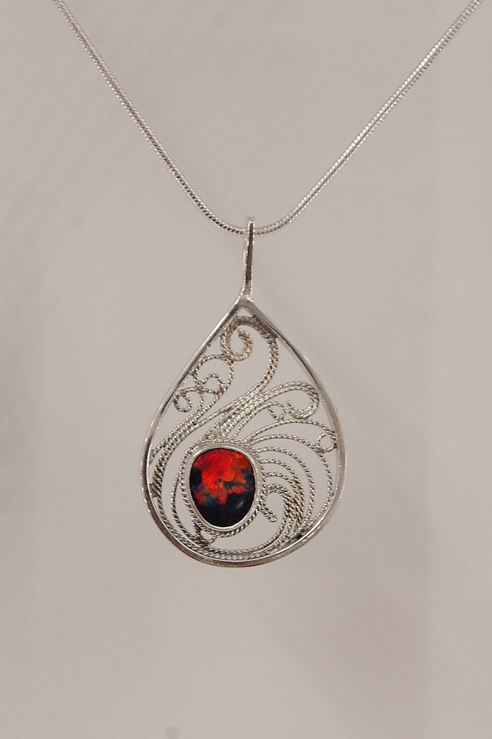 Sunset Sonata - Australian Opal & filigree necklace -SOLD