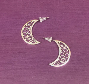 Wiggle Room.  Filigree Half Moon Hoop earrings
