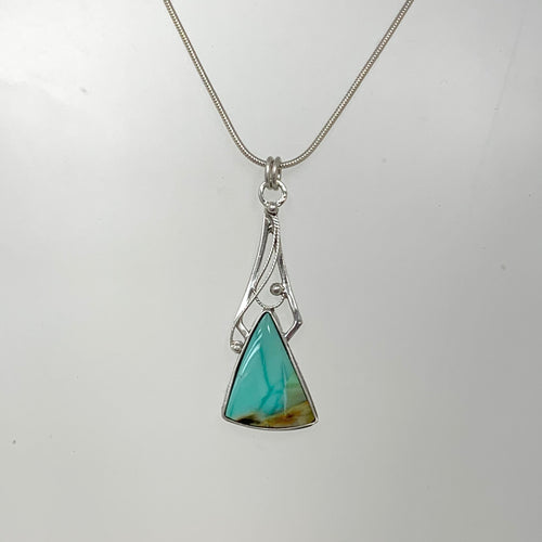 Blue Horizon - Sterling silver filigree with Opalized Wood