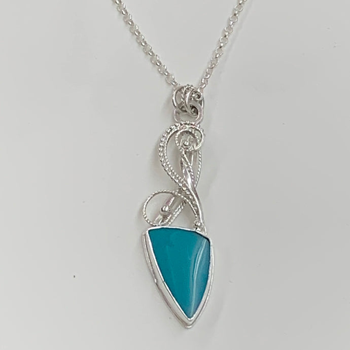 Azure Waltz - Opal pendant or necklace in Sterling silver