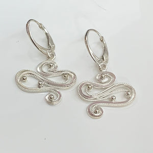 Segue - Sterling silver filigree ear pendants