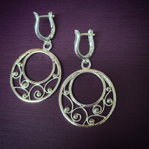 Filigree hoop dangles with lever back posts