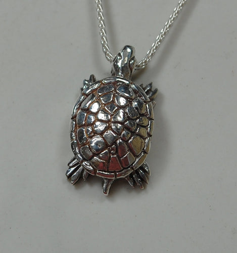 Slow and Steady - Sterling silver tortoise pendant/necklace