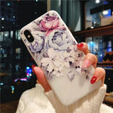 KISSCASE 3D Relief Floral Phone Case For iPhone 6s 7 XS Max Case Girly Silicon Cover For iPhone 6 S Cases iPhone 7 8 Plus XS XR