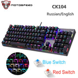 MOTOSPEED CK104 Metal 104 Keys Blue Mouse and Keyboard