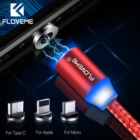 FLOVEME Magnetic Charger Cable Micro USB Type C Lighting Cable
