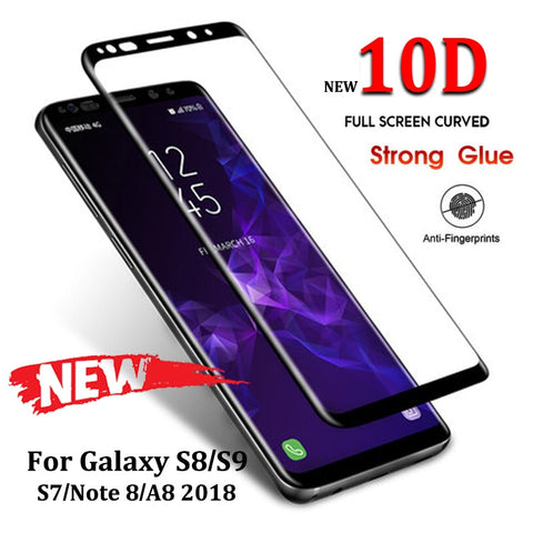 10D Full Curved Tempered Glass For Samsung Galaxy S8 S9 Plus Note 8 9 Screen Protector For Samsung A8 A6 2018 S7 Protective Film