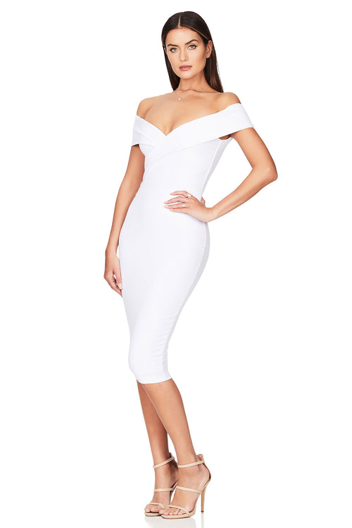 NOOKIE NEPTUNE OFF SHOULDER MIDI
