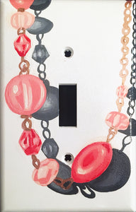 Pink Necklace Painted Light Switch Cover