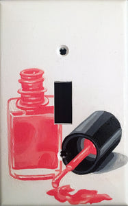 Pink Nail Polish Painted Light Switch Cover