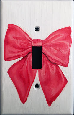 Pink Bow Painted Light Switch Cover