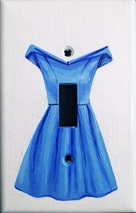 Blue Dress Painted Light Switch Cover