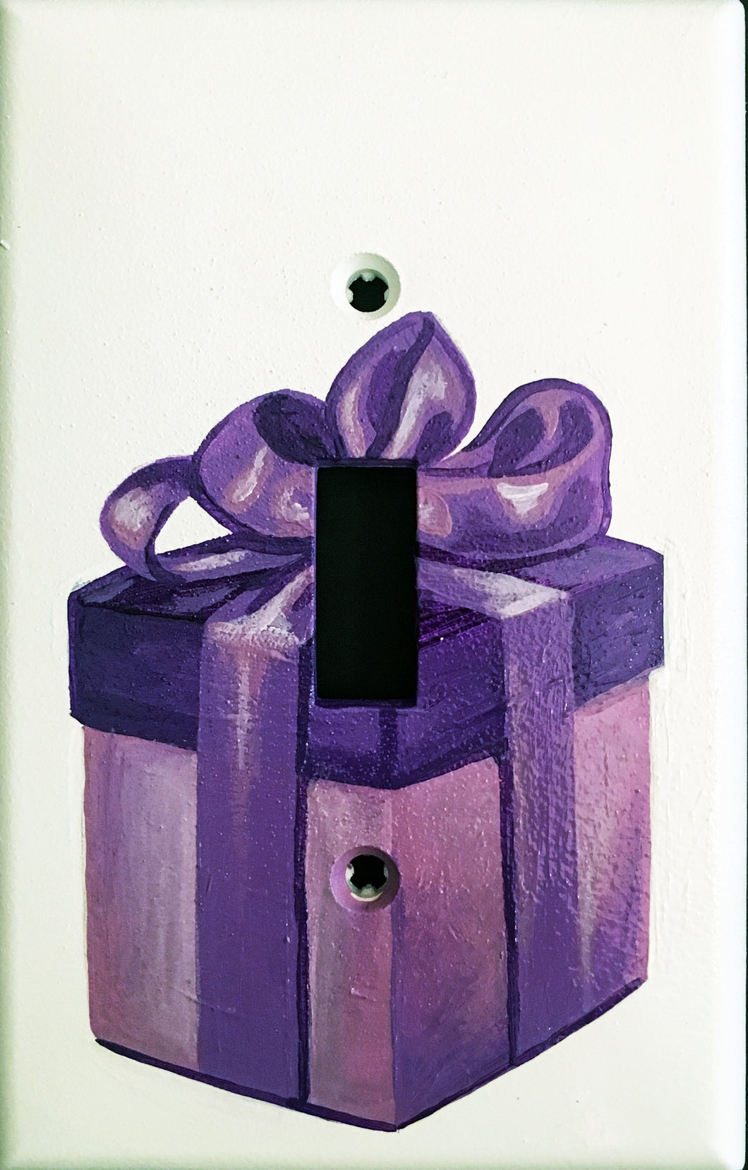 Purple Present Painted Light Switch Cover
