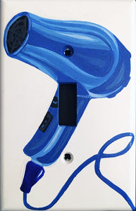 Blue Hair Dryer Painted Light Switch Cover