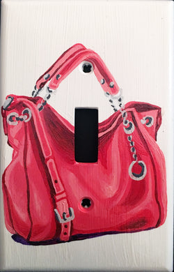 Pink Purse Painted Light Switch Cover