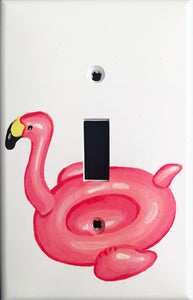 Pink Flamingo Pool Float Painted Light Switch Cover
