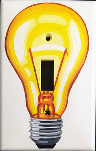Yellow Light Bulb Painted Light Switch Cover