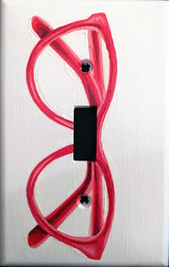 Red Glasses Painted Light Switch Cover