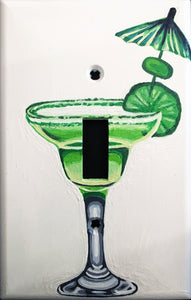 Green Martini Glass Painted Light Switch Cover