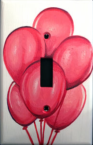 Pink Balloons Painted Light Switch Cover