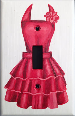 Red Apron Painted Light Switch Cover