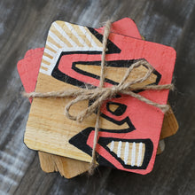 Abstract Painted Wood Coasters - set of 4