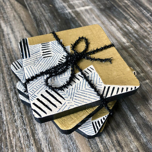 Abstract Painted Gold and Black Wood Coasters - set of 4