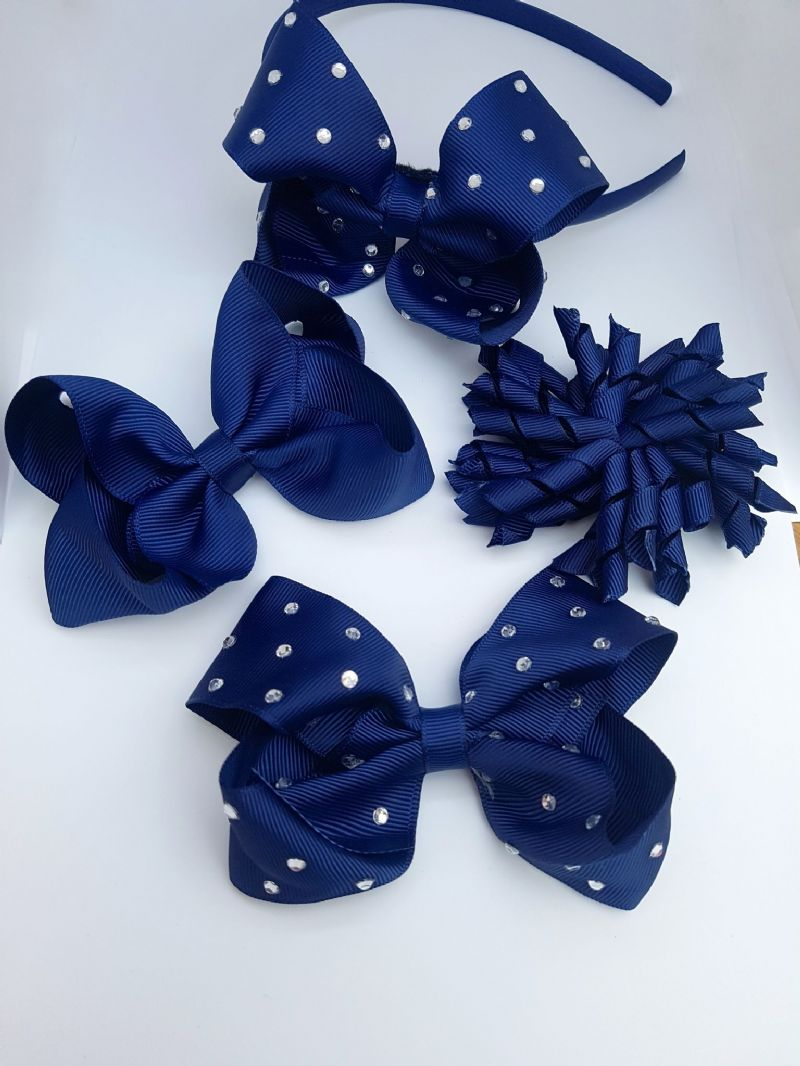 bobbles or clips Navy blue and yellow school hair bows school hair accessories