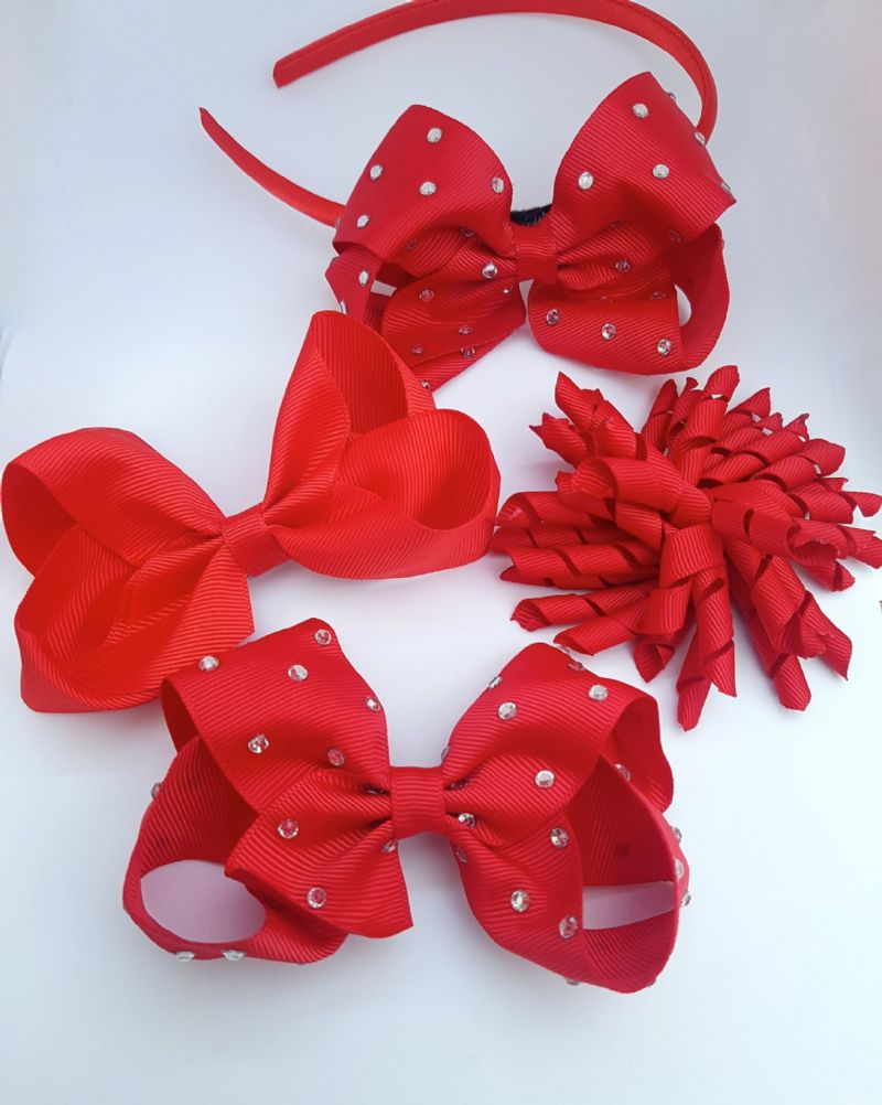 3938699687cd0 Red School Hair Bow Clips Alice Band Korker Ribbon Hair Clip Sets