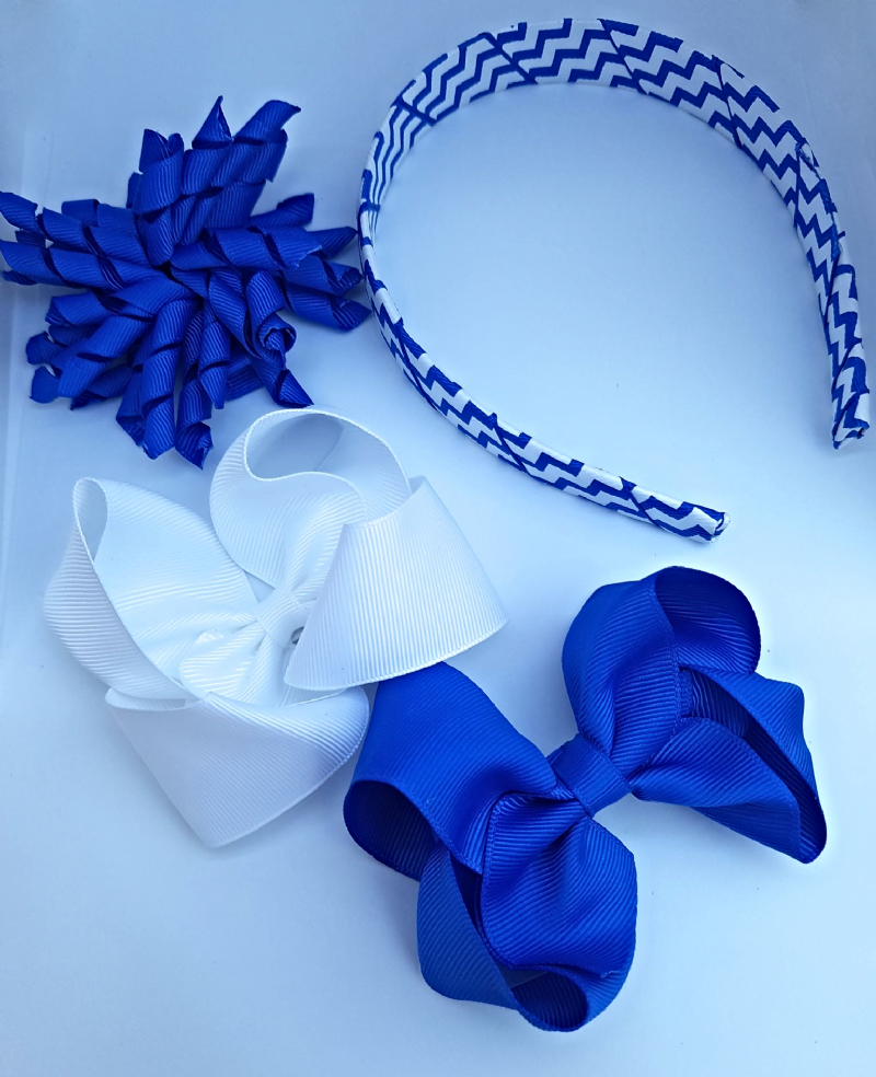 7ebec9add446a Royal Blue & White School Hair Bow Clips Alice Band Korker Ribbon Set