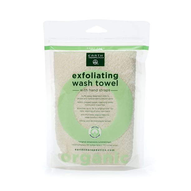 Organic Cotton Exfoliating Wash Towel with Straps