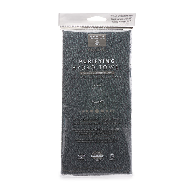 Charcoal Exfoliating Towel - Pure Black PKG-front