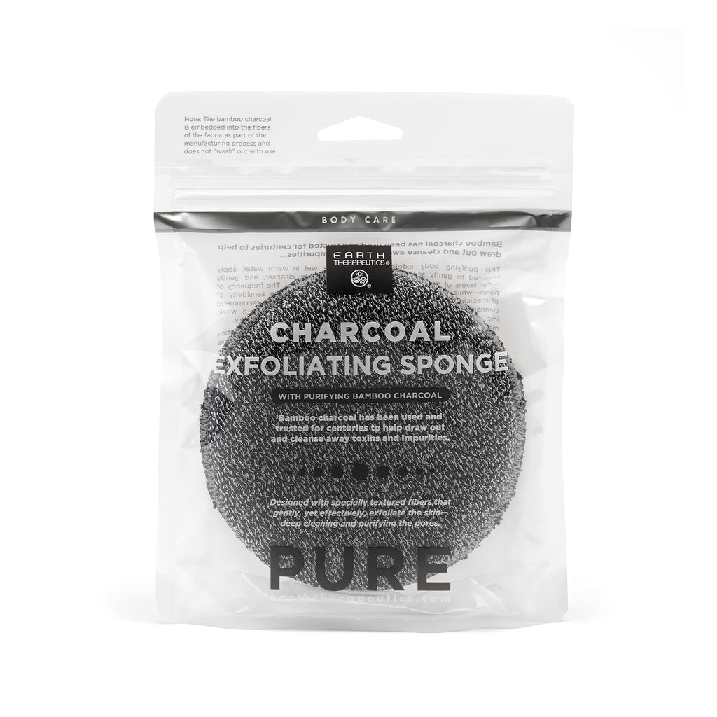 Charcoal Exfoliating Sponge Round Earth Therapeutics